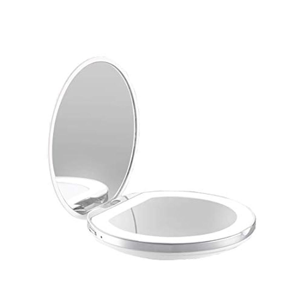打撃不利撃退する手鏡 両面鏡 ライト付きミラー 女優ミラー 3倍拡大鏡付き お姫様 ミラー おしゃれ 卓上 LEDライト 化粧鏡 コンパクト 折り畳み式 スタンドミラー 角度調整