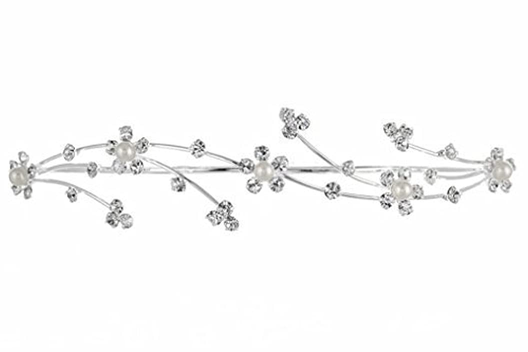 放散するどこにでも閉じるElegant Flower Girl Bridesmaid Tiara Hair Comb - Silver Plated Faux Pearls T160 [並行輸入品]
