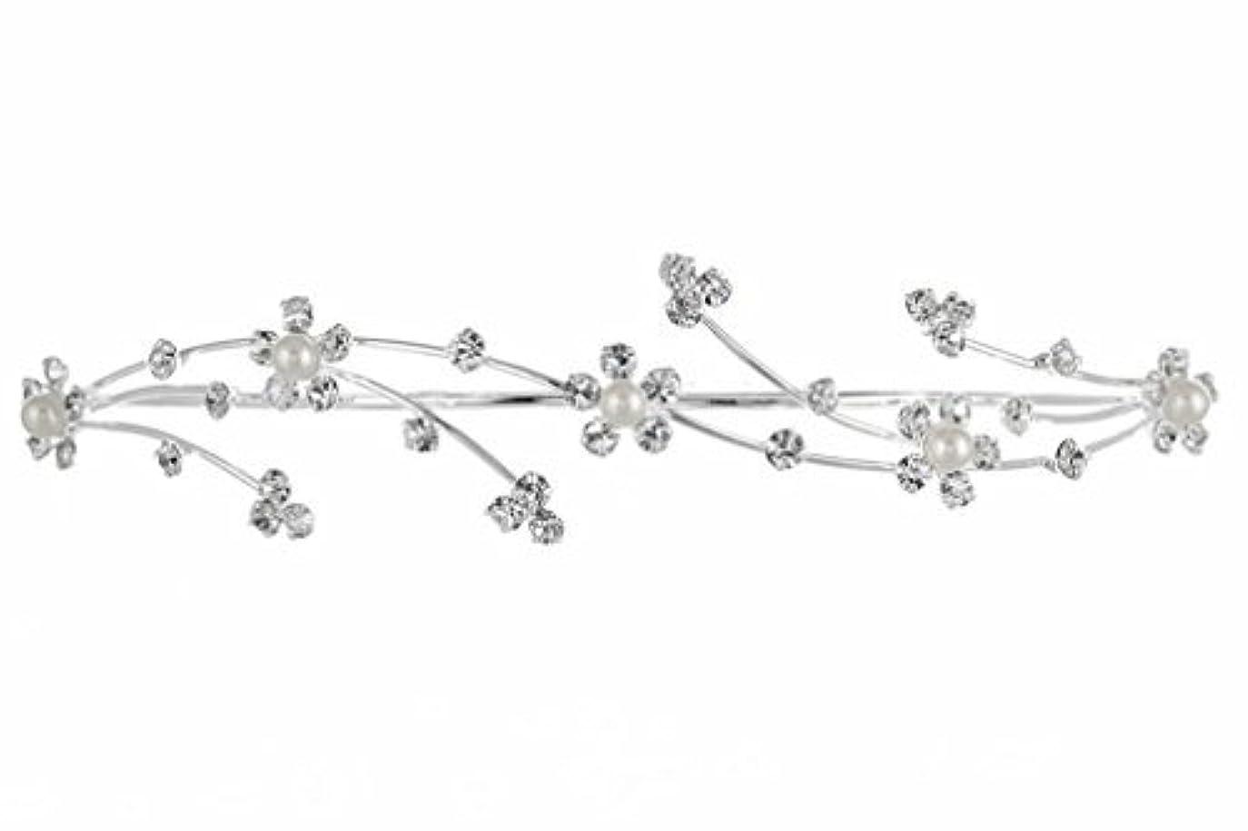 電球恥構成員Elegant Flower Girl Bridesmaid Tiara Hair Comb - Silver Plated Faux Pearls T160 [並行輸入品]