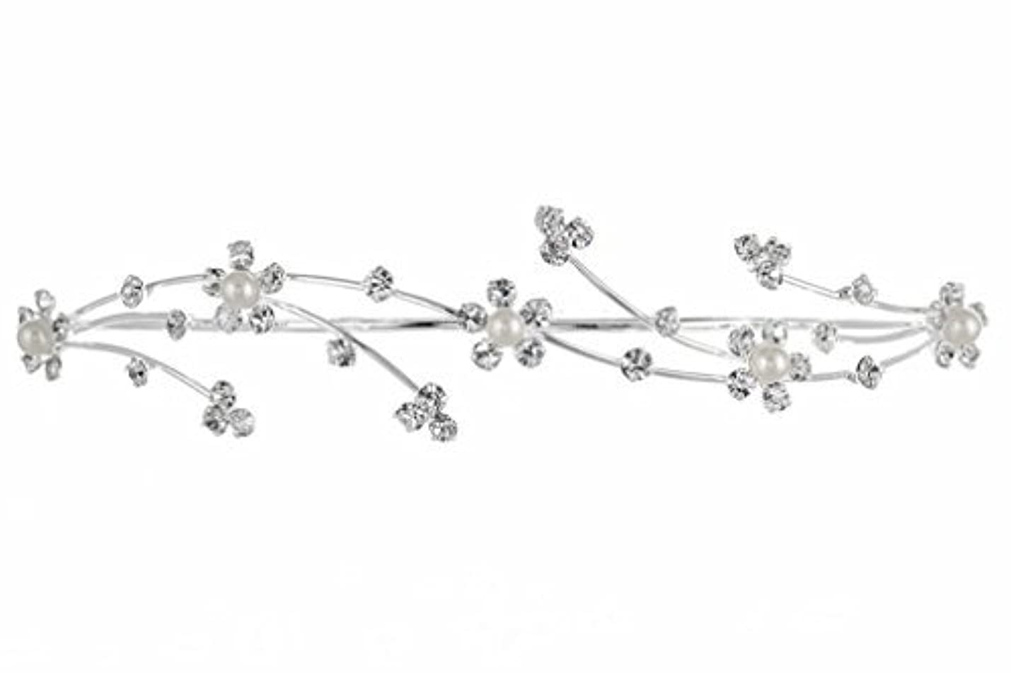 テーマ検出する不足Elegant Flower Girl Bridesmaid Tiara Hair Comb - Silver Plated Faux Pearls T160 [並行輸入品]