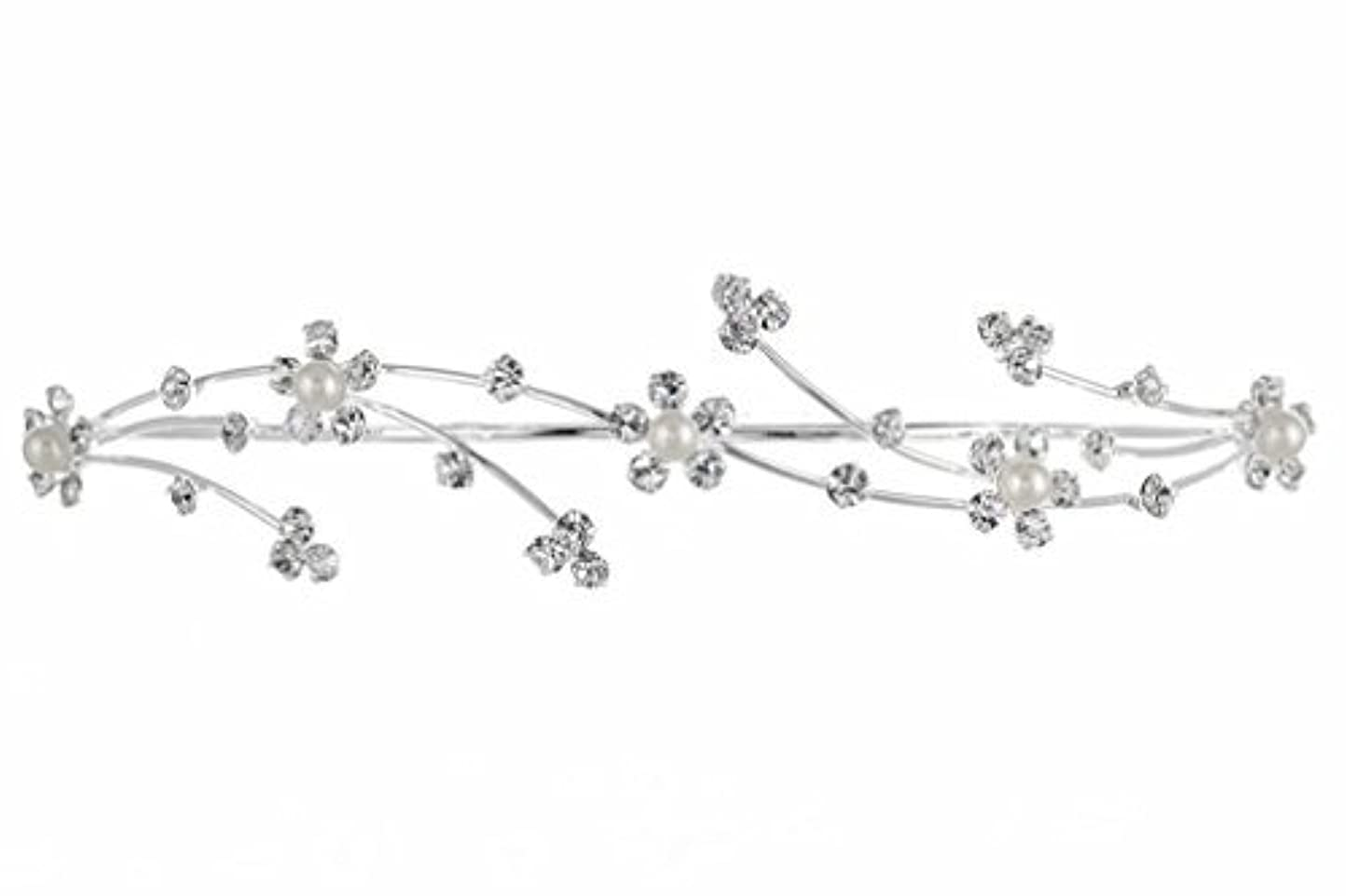 Elegant Flower Girl Bridesmaid Tiara Hair Comb - Silver Plated Faux Pearls T160 [並行輸入品]