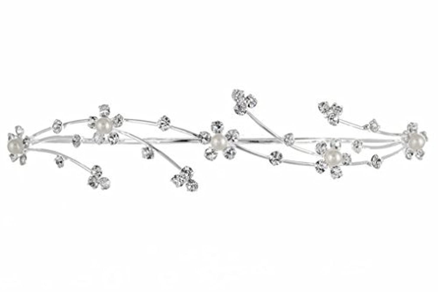 アヒルリング王室Elegant Flower Girl Bridesmaid Tiara Hair Comb - Silver Plated Faux Pearls T160 [並行輸入品]