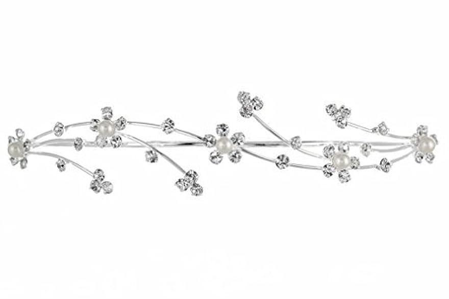 器具薬理学省略Elegant Flower Girl Bridesmaid Tiara Hair Comb - Silver Plated Faux Pearls T160 [並行輸入品]
