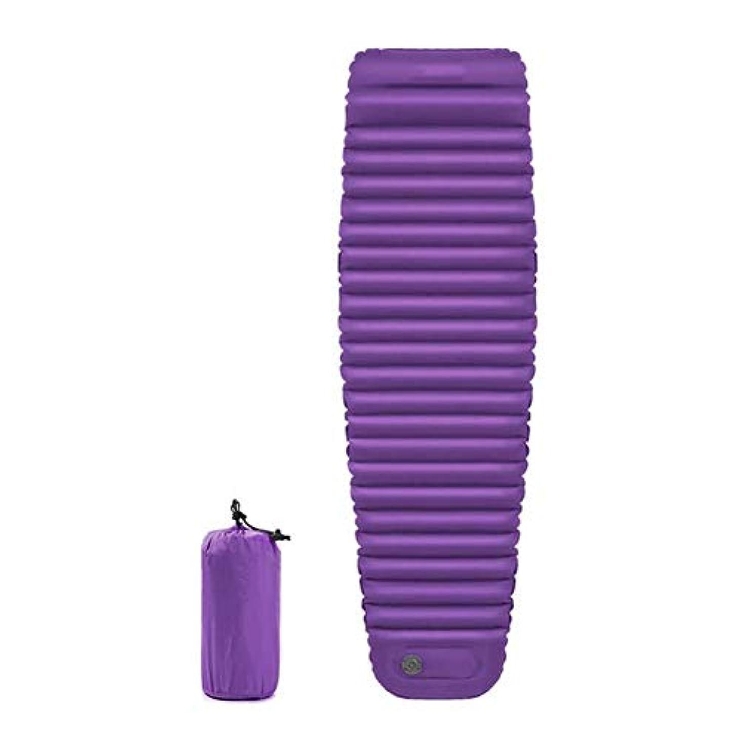 予防接種する鎖背の高いインフレータブル屋外キャンプマット、シングルマットポータブルマットレス肥厚テントクッション付きエアピロープレスインフレパッド (色 : 紫の, サイズ さいず : L l)