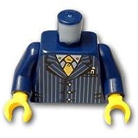 レゴブロックパーツ トルソー - ピンストライプとゴールドネクタイのスーツ:[Dark Blue / ダークブルー]【並行輸入品】