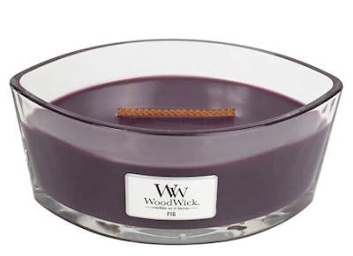 試用発表する韓国Fig Elipse HearthWick Flame Scented Candle by WoodWick