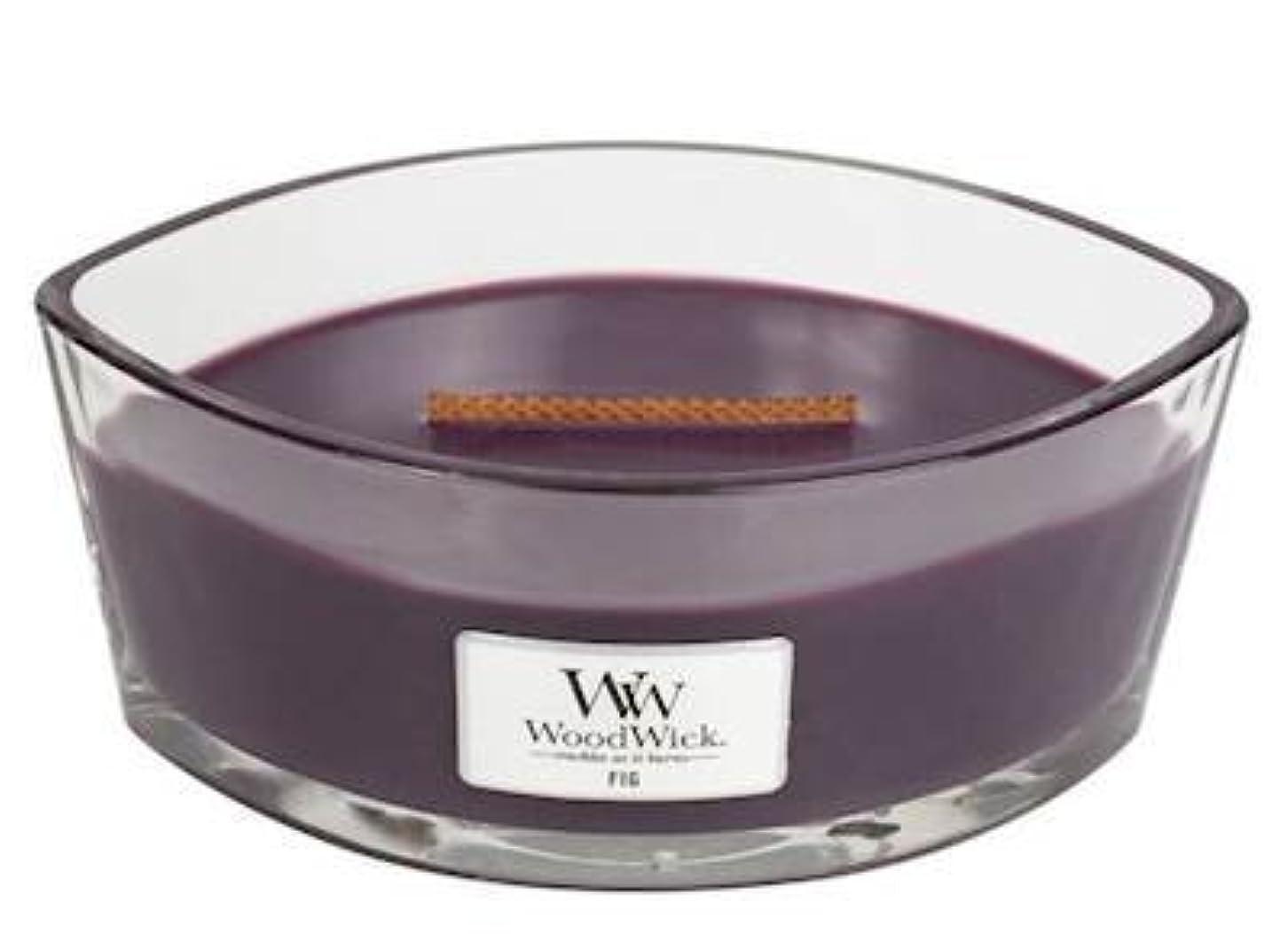 湖デコラティブ申し立てられたFig Elipse HearthWick Flame Scented Candle by WoodWick