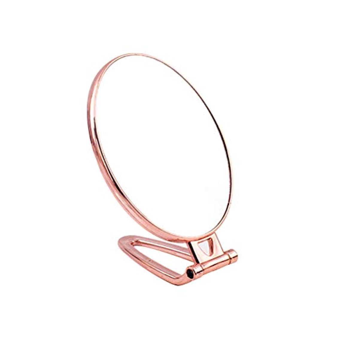 偽善者機知に富んだトラフィックFrcolor 手鏡 折りたたみ式 化粧鏡 両面鏡 メイクミラー ハンド スタンドミラー(ゴールデン、オーバル)