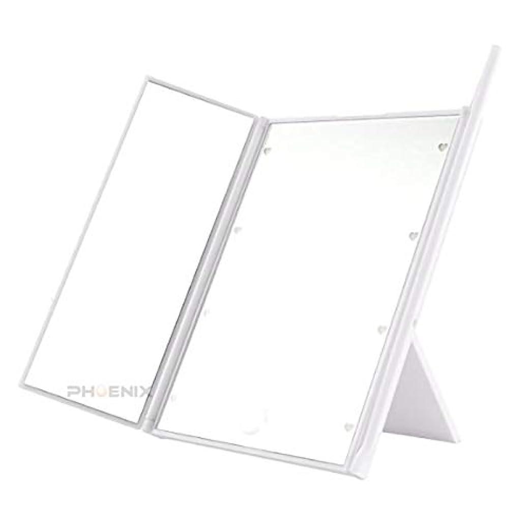 野菜アレンジ写真を撮る鏡 卓上 卓上ミラー led ライト付き 三面鏡 かわいい 女優ミラー 化粧鏡 折りたたみ 持ち運び コンパクト 3カラー 三面鏡,ホワイト