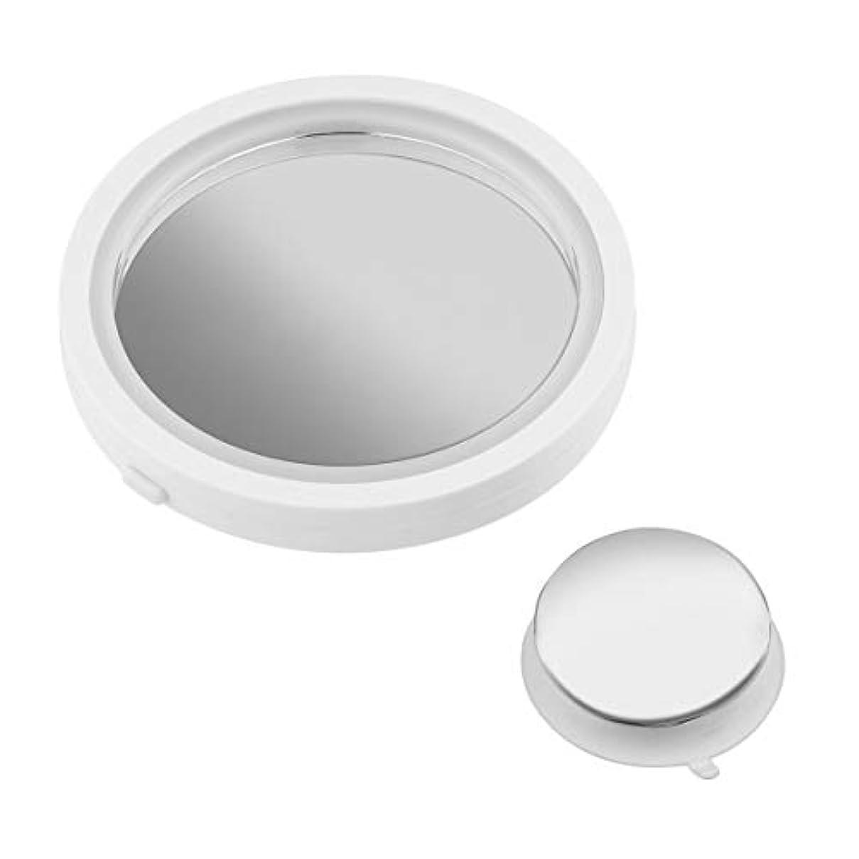 白い記憶融合Bibipangstore ポータブルサイズ360度回転化粧鏡女性プロフェッショナル8倍拡大LED明るい光化粧鏡