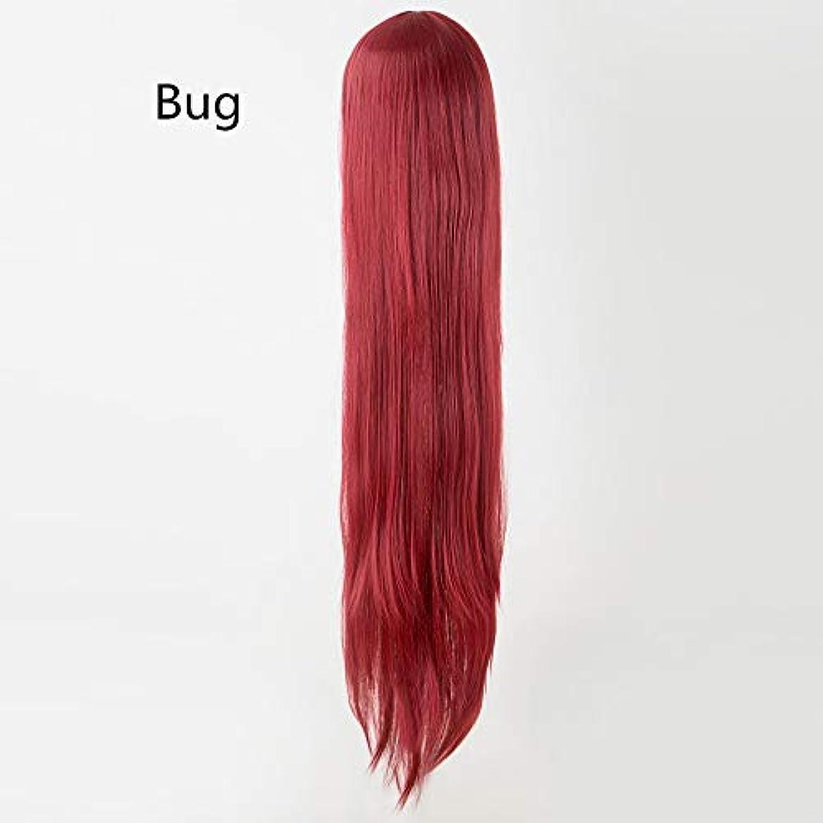 めまい課す解明リザイ 黒かつら100センチ/ 40インチ合成耐熱繊維ロングハロウィーンカーニバル衣装コスプレストレート女性の髪 (Color : Bug, Stretched Length : 38inches)