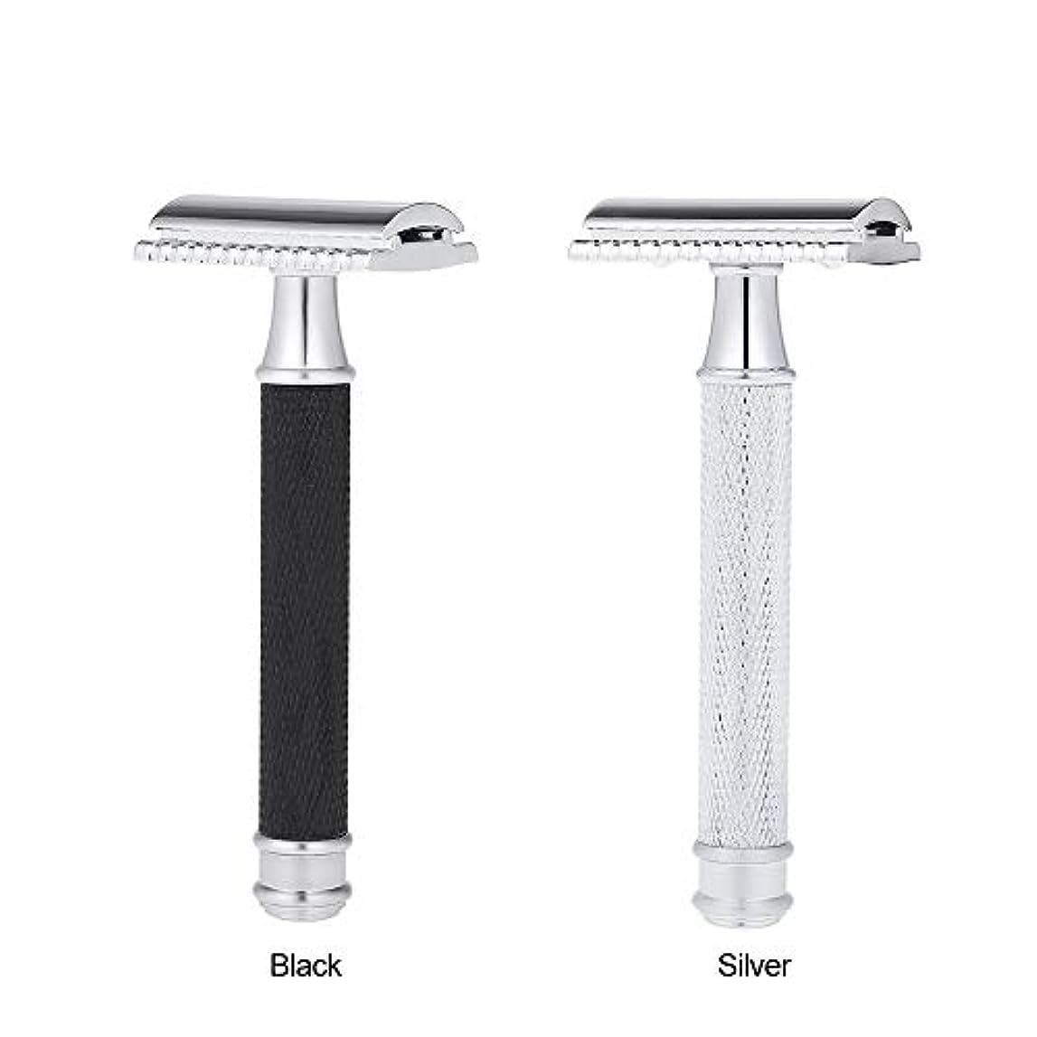 適応声を出して乏しいDouble Edge Classic Safety Razors Double Edge Handled Shaving Razor Stainless Steel Manual Traditional Razor (...
