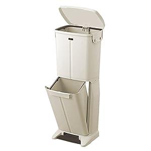 天馬 ペダル式ごみ箱 幅32×奥行30×高さ82cm イーラボホーム スマートペール 分別用ペダルペール 2段 ベージュ