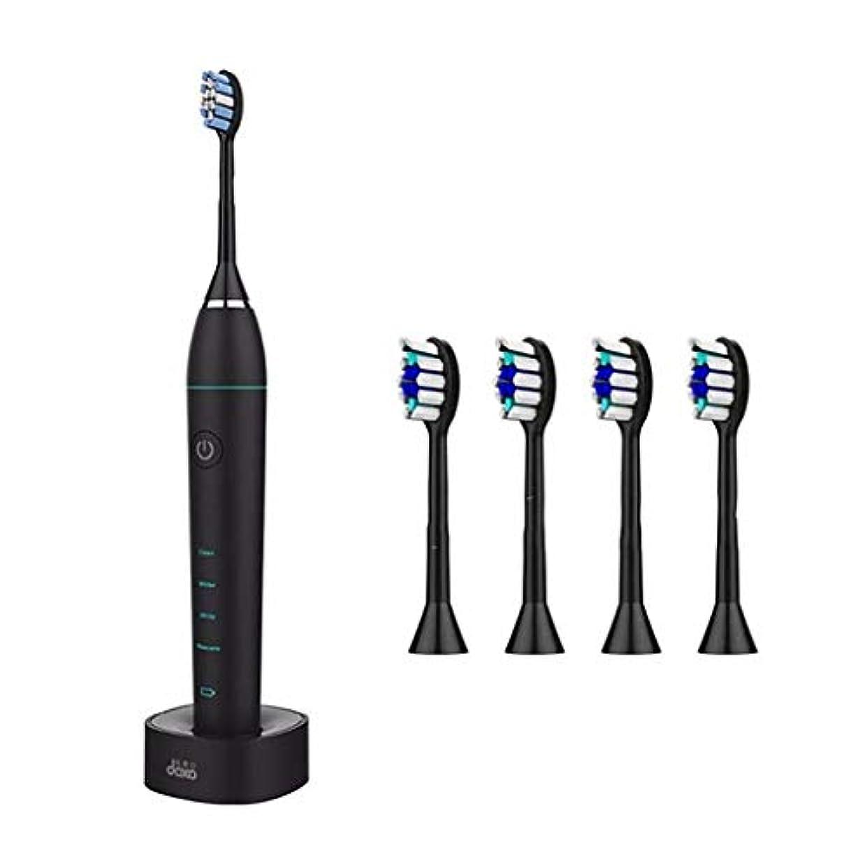 物理的に重大延ばす歯ブラシ、電動歯ブラシ、超音波ホワイトニング歯のバイブレーター、美容歯、ワイヤレスタイマー口腔衛生クリーニング (Color : 黒)
