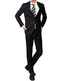 (Richard&Neil) 豊富なデザイン メンズ ビジネス スーツ スリム デザイン 裾上げテープ付き ネイビー ストライプ YA4~BE8