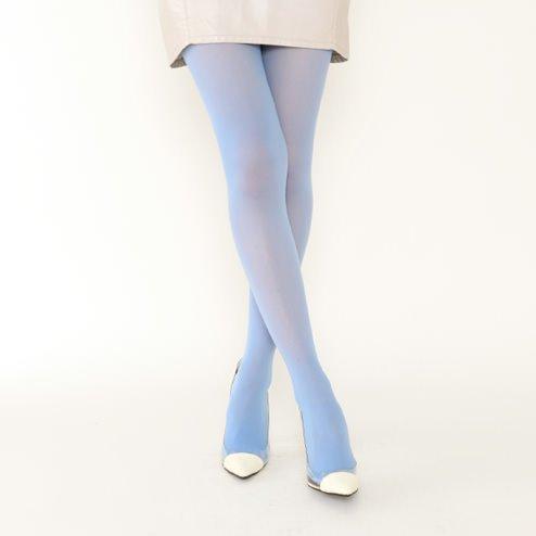 [靴下屋]クツシタヤ 30デニールシアータイツ M?Lサイズ 日本製 無地タイツ サックス