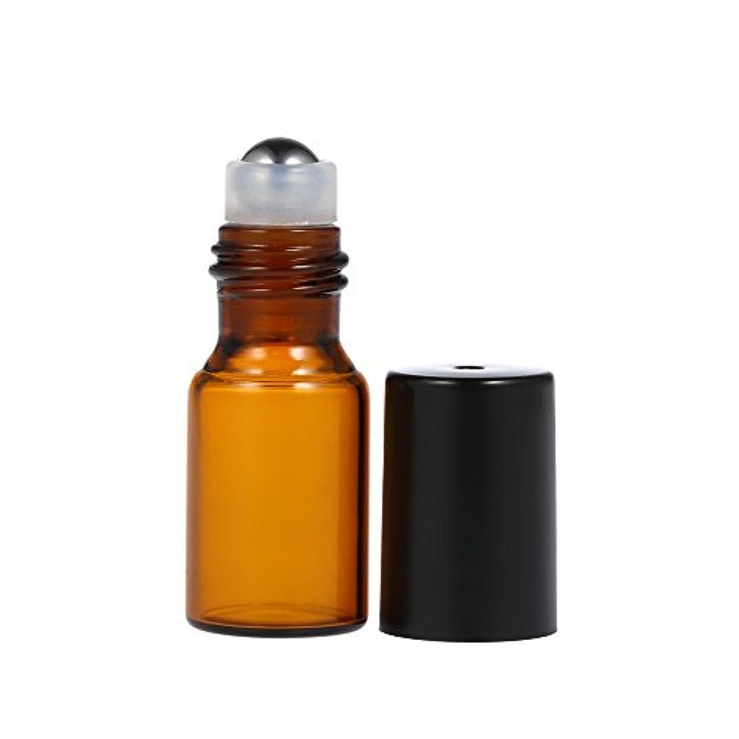 Decdeal 詰め替えボトル エッセンシャルボトル ローラーボトル エッセンシャルオイルローラーボトル アンバーガラスボトル ロールオンボトル ステンレス エッセンシャルオイルジャー 3ml 10個 3ml/個