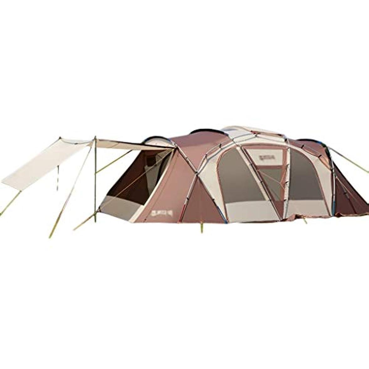 抑止する彼ら請うテント?タープ/テント テントキャンプキャンプビッグテント肥厚トンネルテント屋外防水防雨テント4-6-8-10人家族テントジャイアントテント (Color : Brown, Size : 650*400/345*220cm)