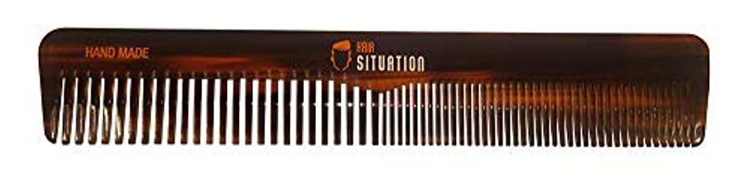 トランスペアレントポイント量でMen Hair Comb ? Full Size, Handmade Tortoise Shell Design, Split Between Fine and Medium Tooth, Anti-Static &...