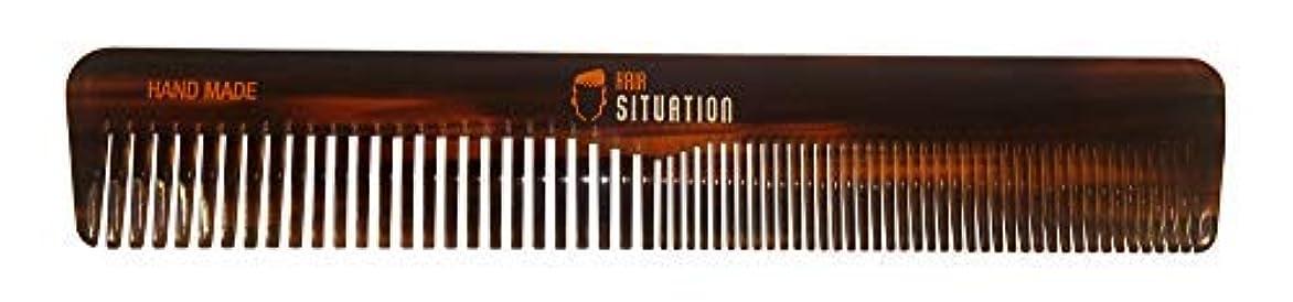 ペナルティ学習挽くMen Hair Comb ? Full Size, Handmade Tortoise Shell Design, Split Between Fine and Medium Tooth, Anti-Static &...