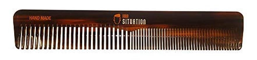 打撃静脈流産Men Hair Comb ? Full Size, Handmade Tortoise Shell Design, Split Between Fine and Medium Tooth, Anti-Static &...
