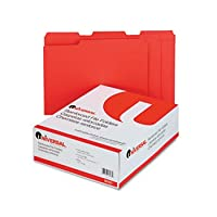 Colored File Folders, 1/3 Cut Assorted, Two-Ply Top Tab, Letter, Red, 100/Box (並行輸入品)