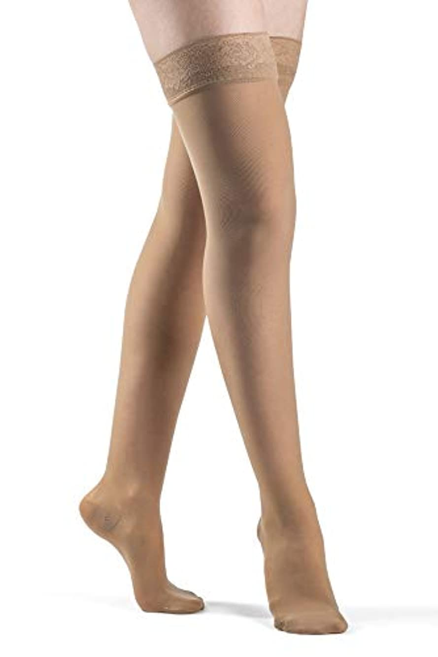 Sigvaris EverSheer 781NMSW36 15-20 Mmhg Closed Toe Medium Short Thigh Hosiery For Women, Suntan by Sigvaris