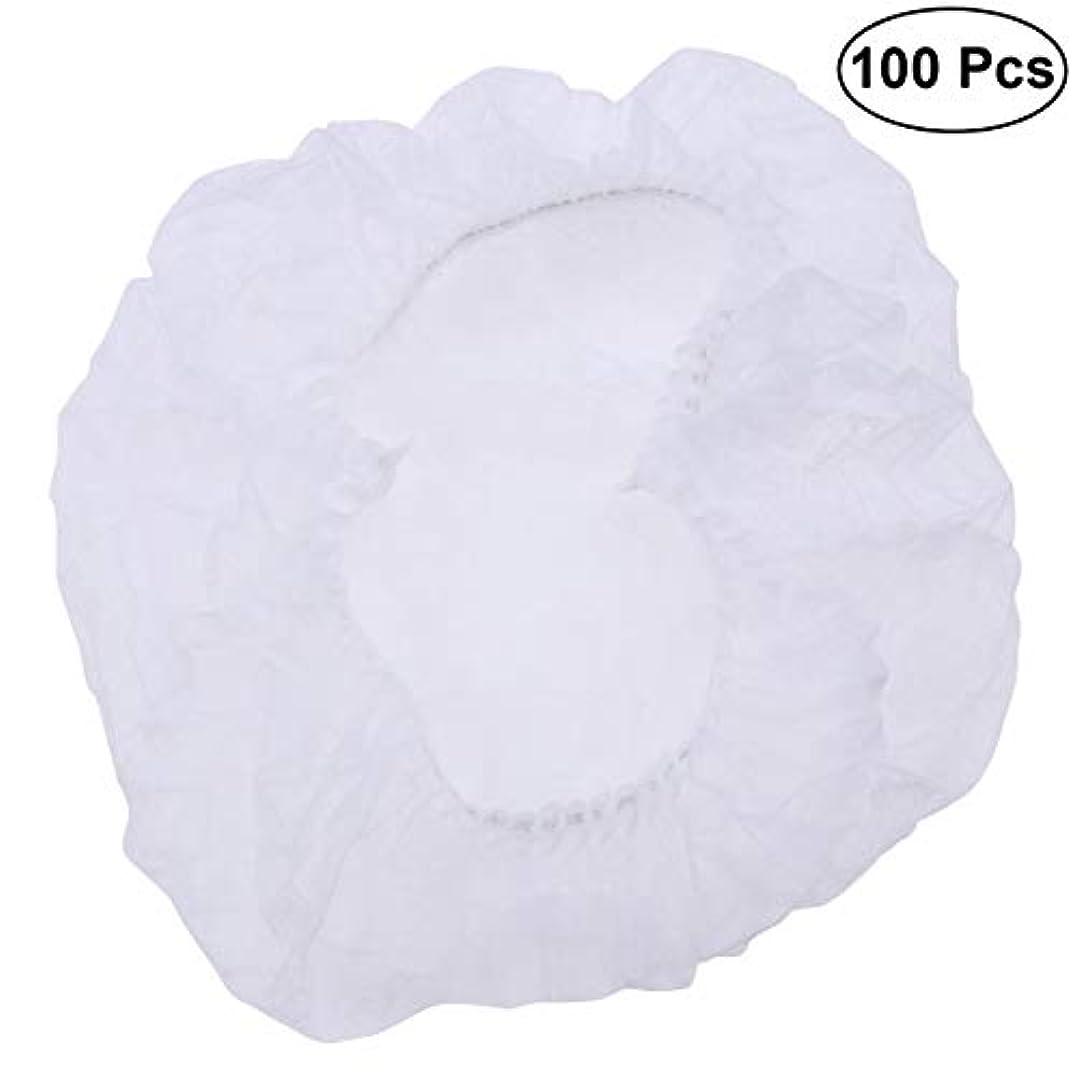 。りんごフローティングSUPVOX ヘアサロンの家のホテル100pcsのための使い捨て可能なシャワーキャップの伸縮性がある毛の帽子