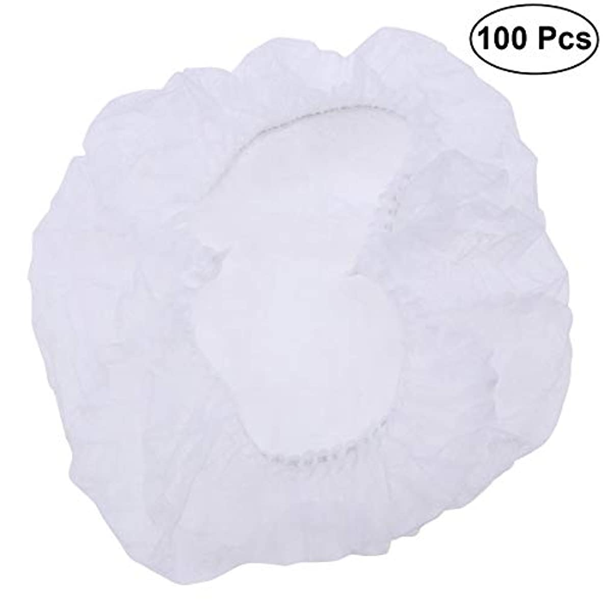 落ちたの間に受取人SUPVOX ヘアサロンの家のホテル100pcsのための使い捨て可能なシャワーキャップの伸縮性がある毛の帽子