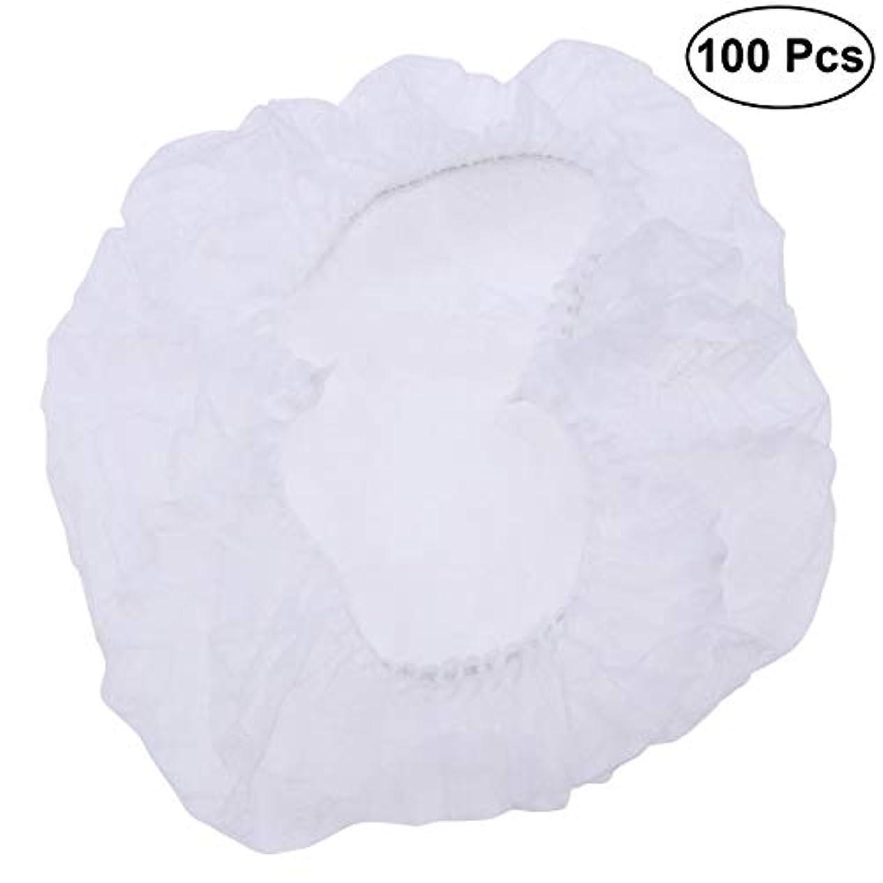 セミナー剛性絶壁SUPVOX ヘアサロンの家のホテル100pcsのための使い捨て可能なシャワーキャップの伸縮性がある毛の帽子