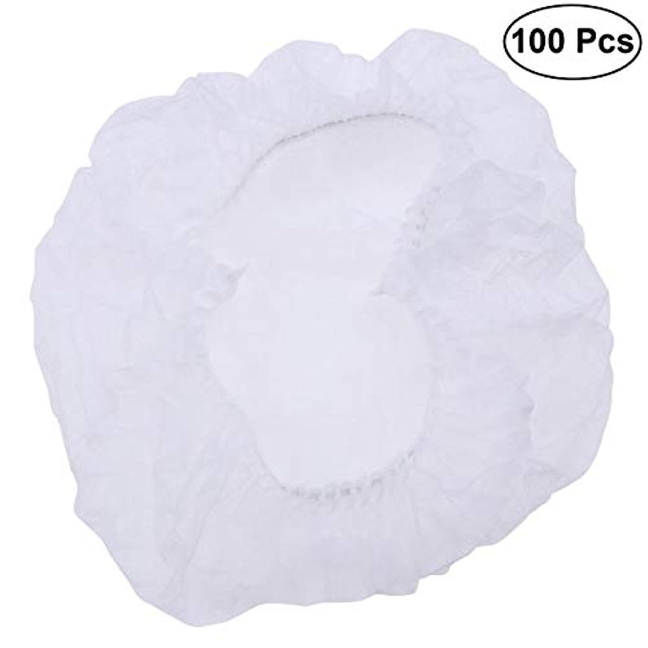 不可能なシャツ採用するSUPVOX ヘアサロンの家のホテル100pcsのための使い捨て可能なシャワーキャップの伸縮性がある毛の帽子