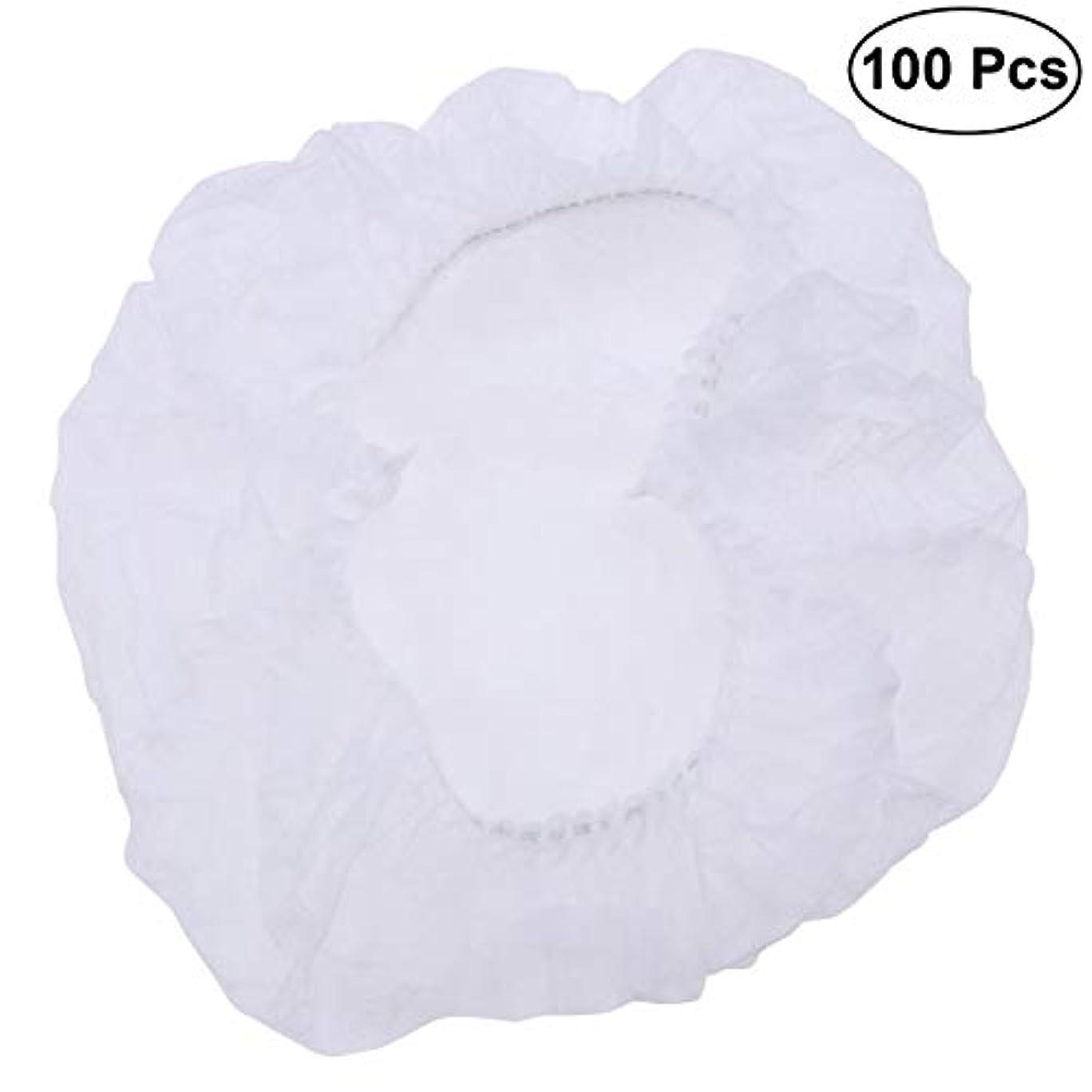 包括的石の確保するSUPVOX ヘアサロンの家のホテル100pcsのための使い捨て可能なシャワーキャップの伸縮性がある毛の帽子