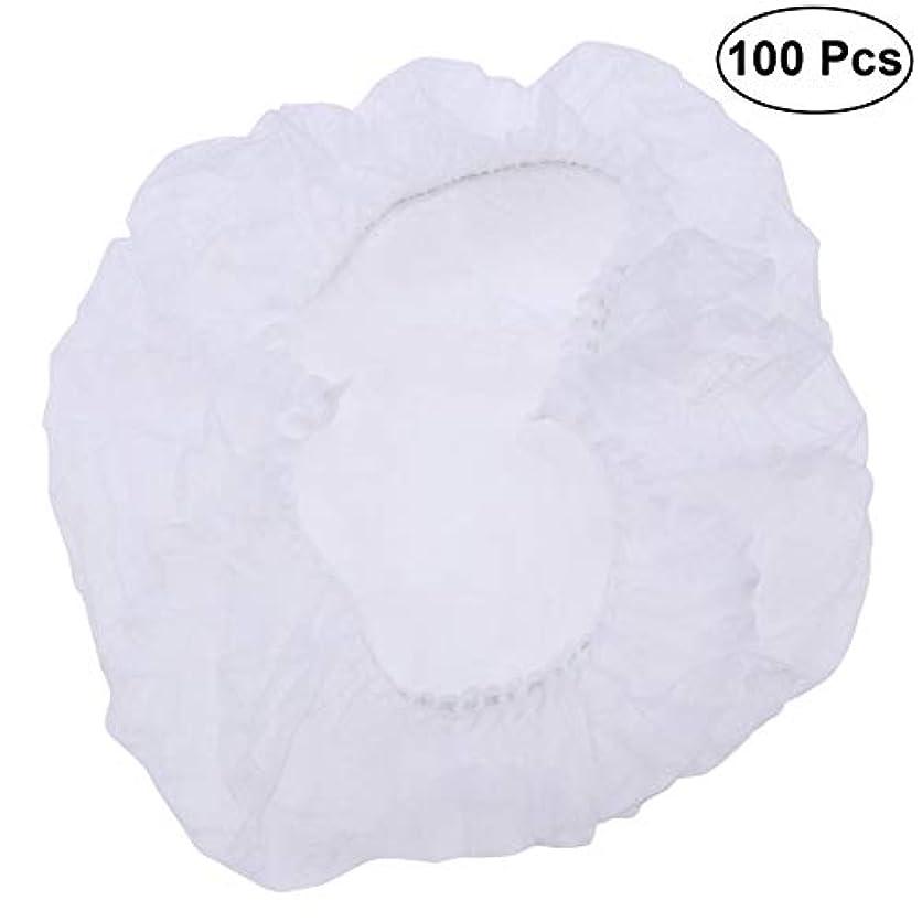 フラップ良性ジャケットSUPVOX ヘアサロンの家のホテル100pcsのための使い捨て可能なシャワーキャップの伸縮性がある毛の帽子