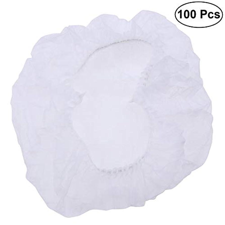 どこにもメナジェリー床を掃除するSUPVOX ヘアサロンの家のホテル100pcsのための使い捨て可能なシャワーキャップの伸縮性がある毛の帽子