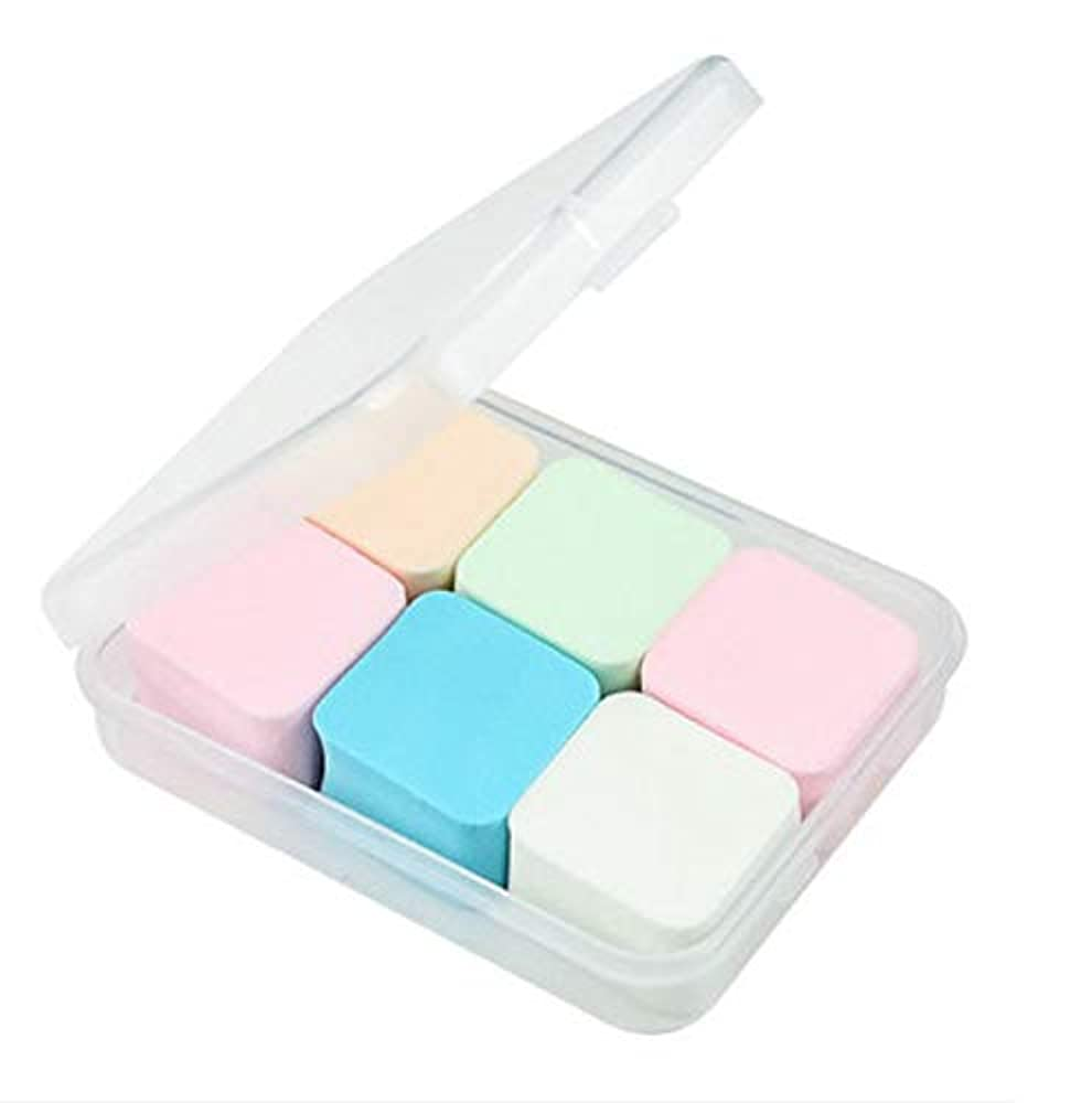排他的立証する現像美容スポンジ、収納ボックス付きソフトダイヤモンド化粧スポンジ美容メイク卵6パック