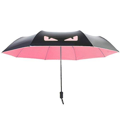 MIRAIS 折り畳み式 悪魔の傘 デンビルラ 雨具 アンブレラ 折り畳み日傘 軽量 デザイン おしゃれ 男女兼用 丈夫 安全 長持ち (ピンク) MR-DEBIGASA-PK