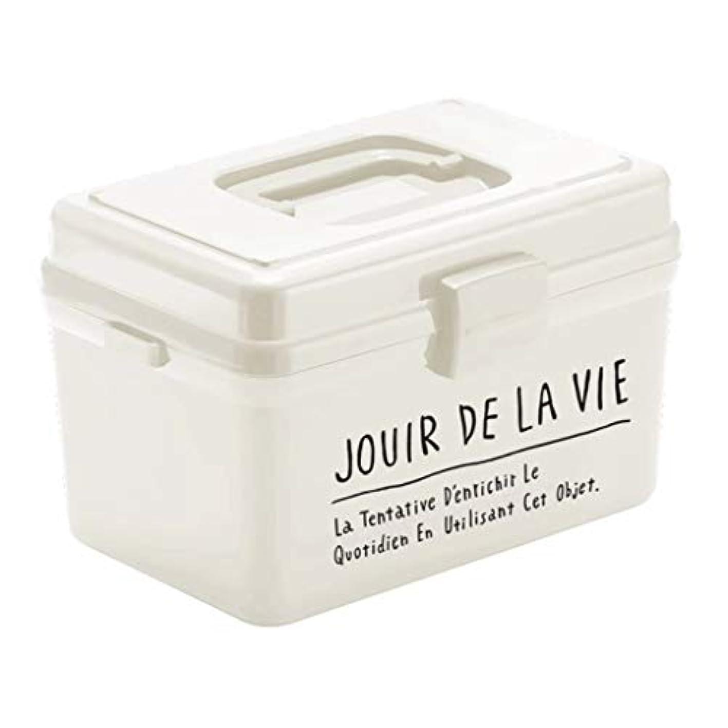 医療用キット家庭用大容量医療用具薬収納ボックス高品質プラスチック素材ポータブルデザインブラック、ホワイト SYFO (Color : White)