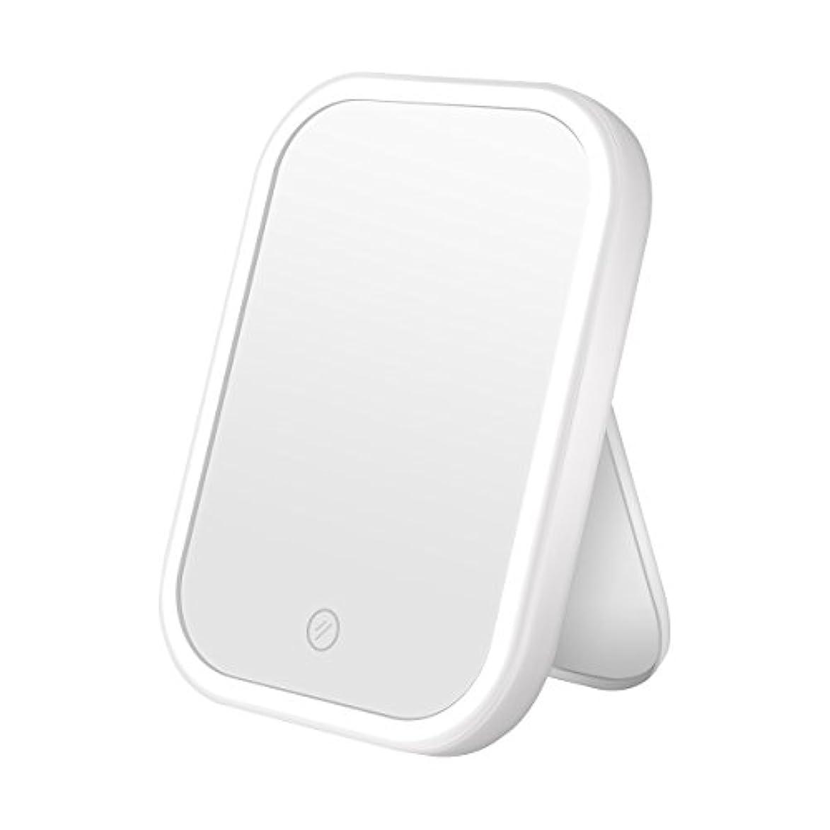 CERSLIMO 4と照明付き 化粧鏡がテープライトは操作タッチスクリーンスイッチ電池またはUSBでライト調光可能なテーブル カウンター化粧鏡付き化粧鏡を移動導きました ホワイト-電池またはUSBケーブル