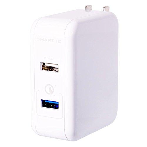 オウルテック USB充電器 Quick Charge 3.0 かしこく充電 Smart IC搭載 2ポート 5.4A 超速充電 2年保証 MCPC認証 iPhone Android対応 折畳式プラグ ホワイト OWL-ACQ3U254-WH