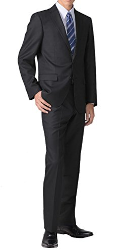 (リクルートスーツ) recruit suit スリムスーツ 黒無地 2つボタン 防シワ パンツウォッシャブル 総裏地 ソ...