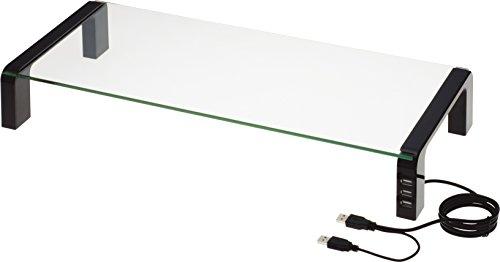 キングジム 机上台 デスクボード USBハブ付 ガラス天板 黒 THDBU-20K...