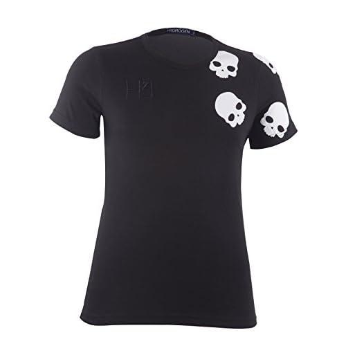 (ハイドロゲン)HYDROGEN メンズ Tシャツ 半袖 ショルダー ランダムスカル 並行輸入品 (S, ブラック)