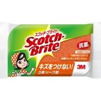 3M スコッチ・ブライト 抗菌ウレタンスポンジたわし リーフ型 3層 オレンジ 1個