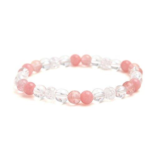 [해외]천연석 파워 스톤 팔찌 [크리스탈 핑크 쿼츠 라이트] 여성 남성 유니섹스 여성용 남성용 남녀 겸용 심플 발찌 팔찌 팔찌 석영 크리스탈 부적 소원 예쁜 세련된 캐주얼 액세서리/Natural Stone Power Stone Bracelet [Crystal Pink Quartz Light] Wom...