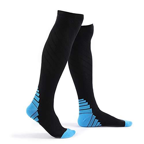 コンプレッションソックス スポーツ 着圧 ソックス 靴下 弾性ソックス 疲労減少 運動最適 アーチサポート 血行促進 全2色 SOKa01 (ブルー,S/M)