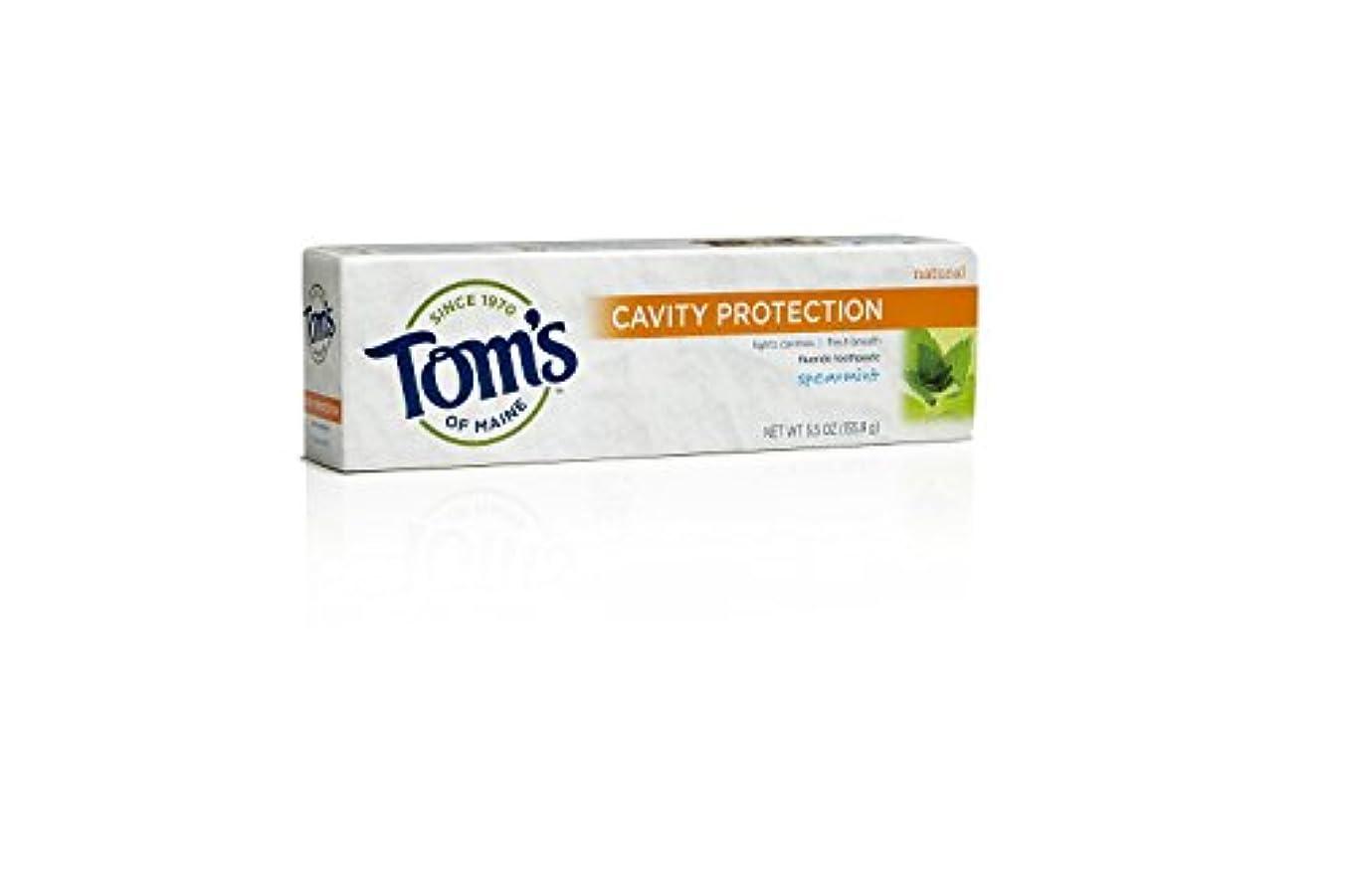 ダメージ言い聞かせるまたはどちらかTom's of Maine, Cavity Protection Fluoride Toothpaste, Spearmint, 5.5 oz (155.9 g)
