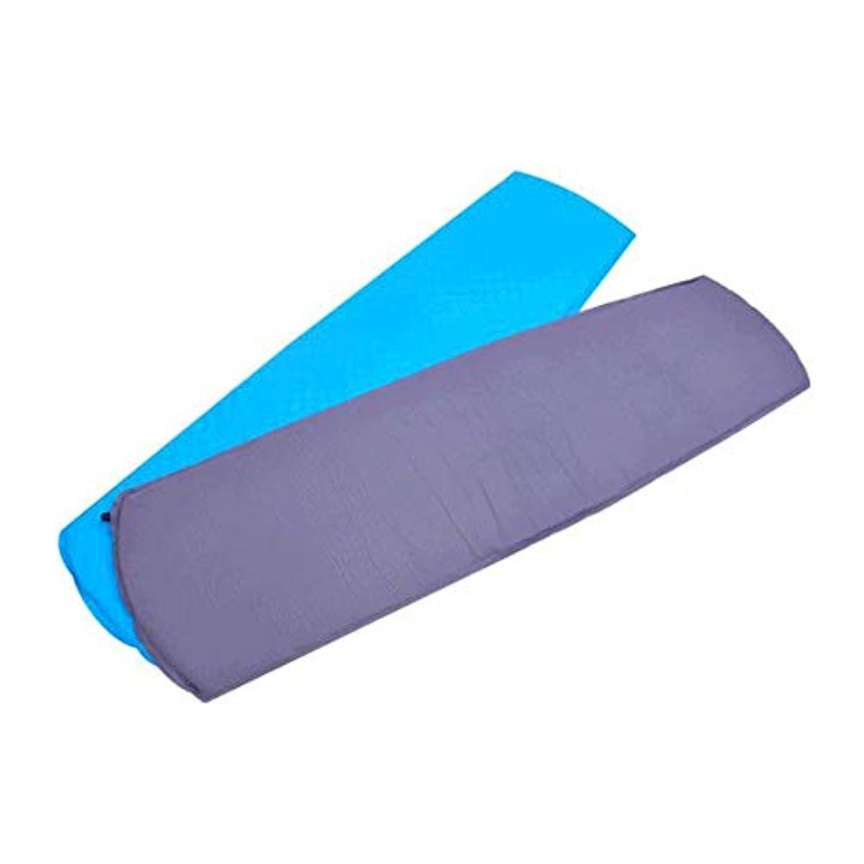 君主対応するヒールインフレータブルテントフォームマット軽量屋外バックパッキングエアマットレス防水自己膨張折りたたみ式コンパクトシングルキャンプスプライシングスリーピングパッド (色 : 青, サイズ : 72.8*20*1.18inches)