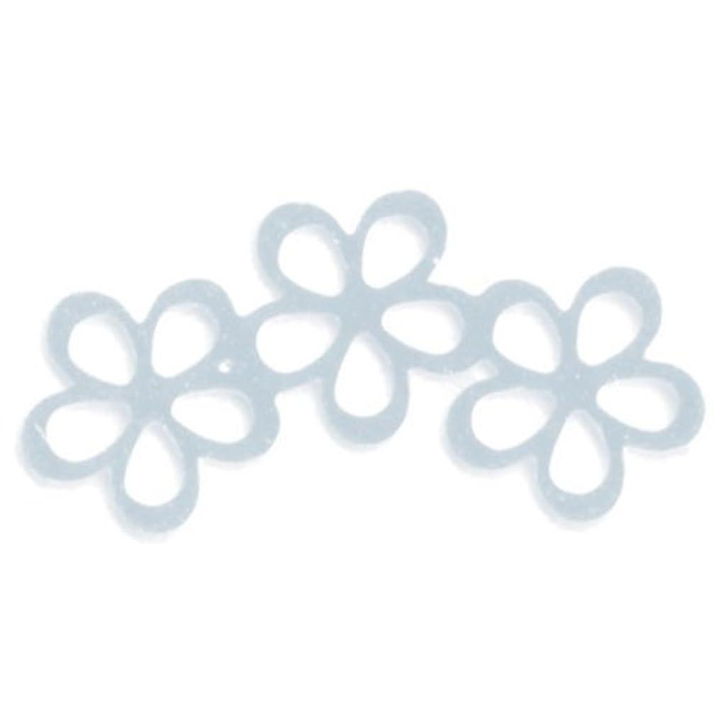 抽象最小化する知覚できるリトルプリティー ネイルアートパーツ シャイニーフラワー3連スカシ シルバー 10個