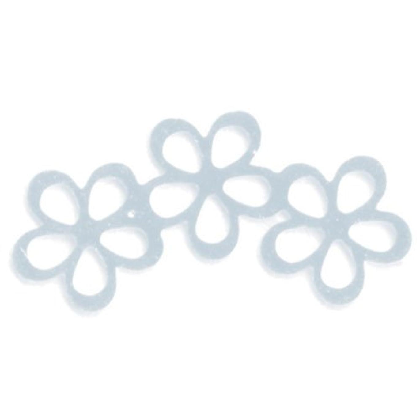 免除なぞらえるパウダーリトルプリティー ネイルアートパーツ シャイニーフラワー3連スカシ シルバー 10個