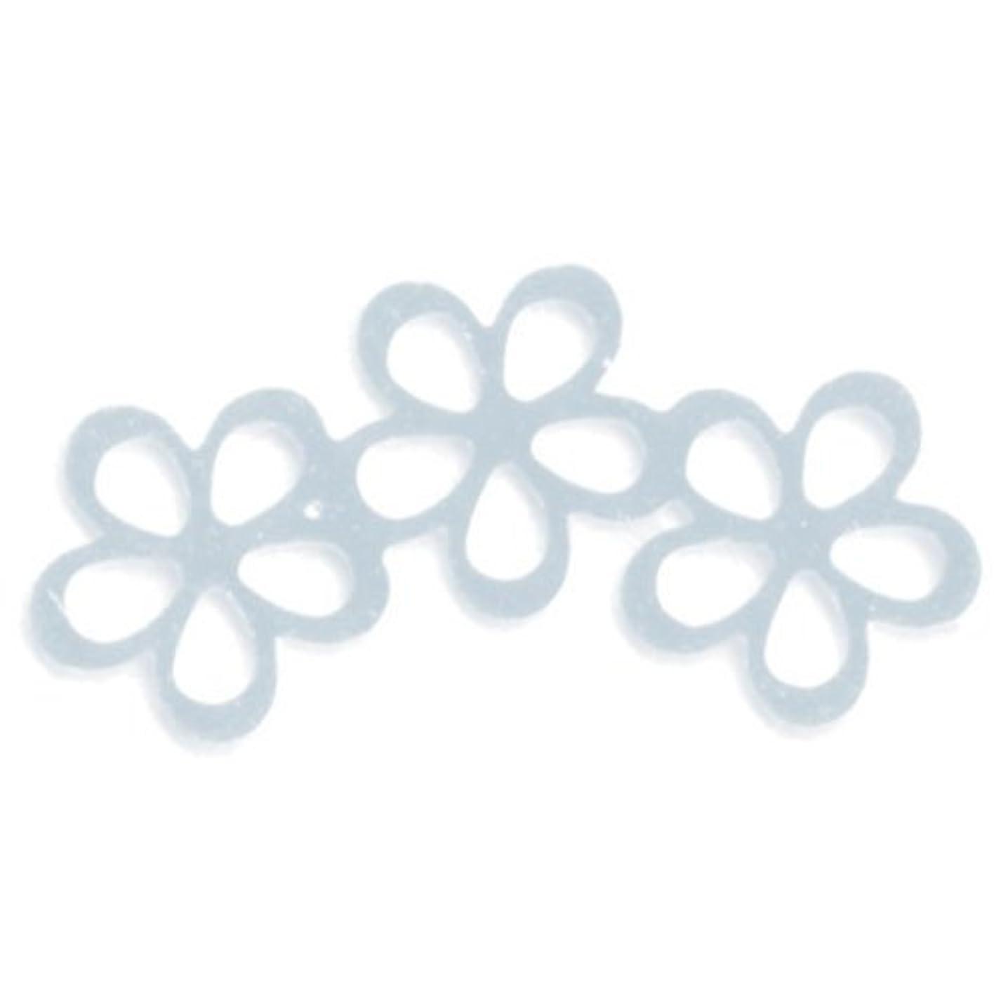 アベニュー耕す論文リトルプリティー ネイルアートパーツ シャイニーフラワー3連スカシ シルバー 10個